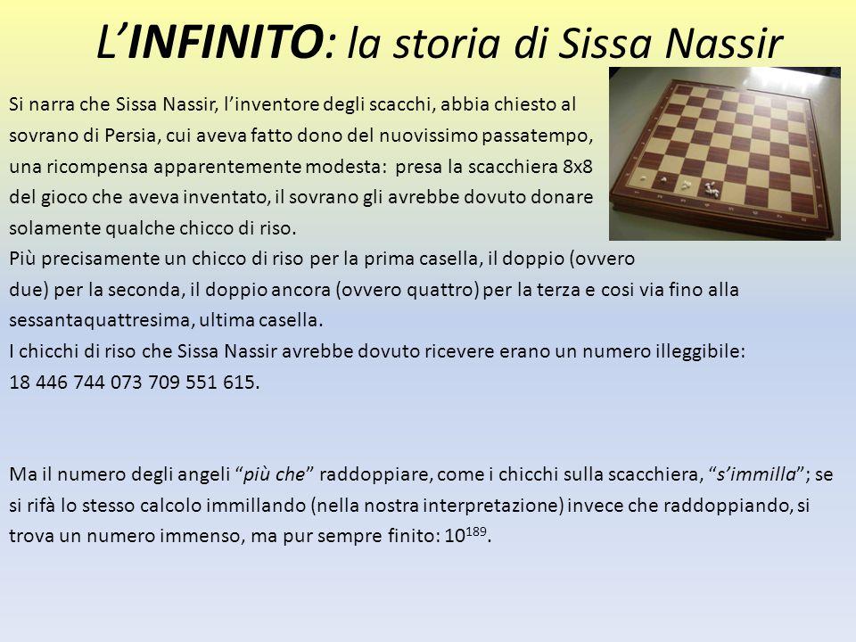 L'INFINITO: la storia di Sissa Nassir Si narra che Sissa Nassir, l'inventore degli scacchi, abbia chiesto al sovrano di Persia, cui aveva fatto dono d
