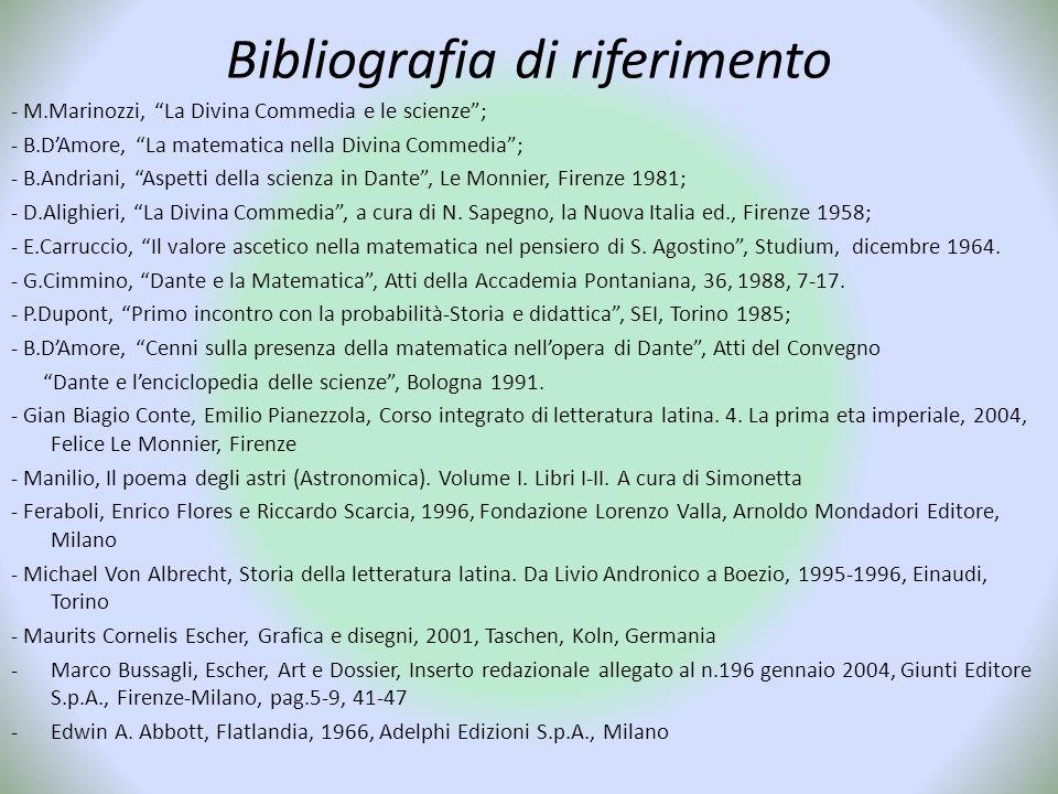 """Bibliografia di riferimento - M.Marinozzi, """"La Divina Commedia e le scienze""""; - B.D'Amore, """"La matematica nella Divina Commedia""""; - B.Andriani, """"Aspet"""