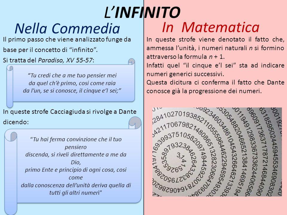 """Nella Commedia Il primo passo che viene analizzato funge da base per il concetto di """"infinito"""". Si tratta del Paradiso, XV 55-57: In queste strofe Cac"""