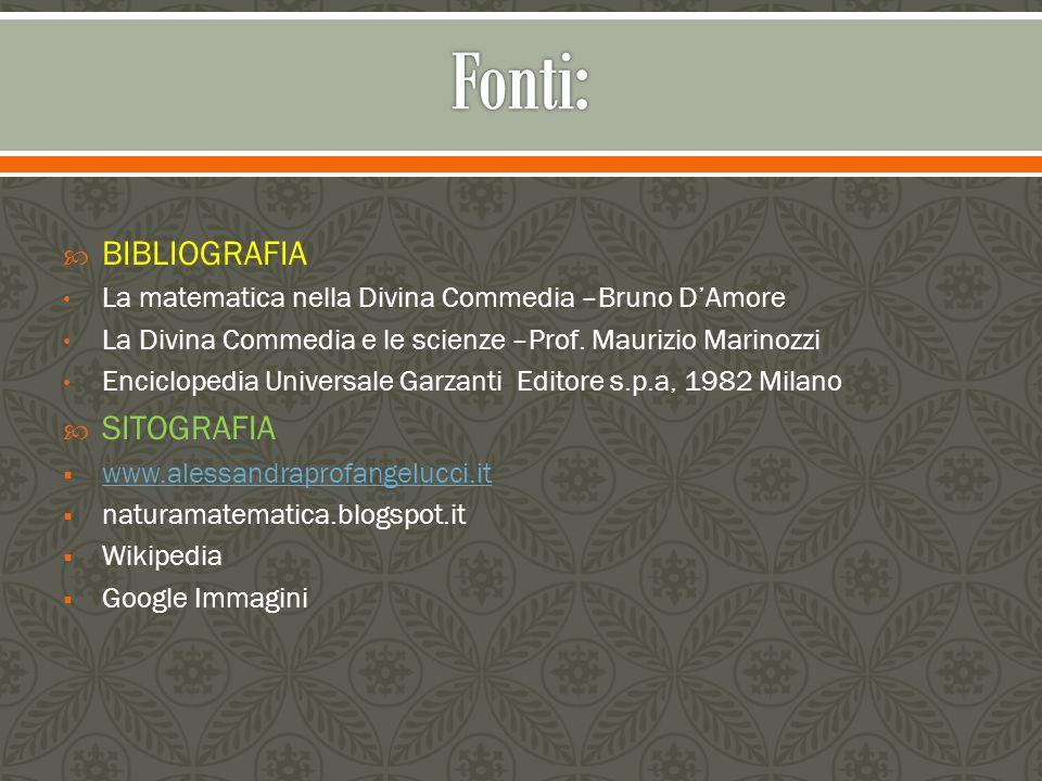  BIBLIOGRAFIA La matematica nella Divina Commedia –Bruno D'Amore La Divina Commedia e le scienze –Prof. Maurizio Marinozzi Enciclopedia Universale Ga