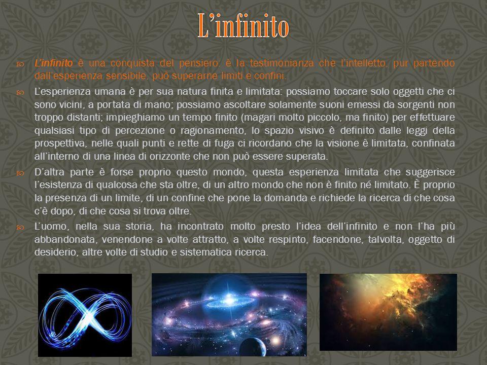  Dante Alighieri nella sua opera maggiore, la Divina Commedia, fa comparire il termine 'infinito', anche se una sola volta nel Purgatorio e due volte nel Paradiso, come attributo di Dio e per marcare nettamente la distanza tra Dio e l'essere umano.