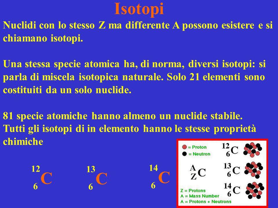 Isotopi C 13 6 C 14 6 Nuclidi con lo stesso Z ma differente A possono esistere e si chiamano isotopi. Una stessa specie atomica ha, di norma, diversi