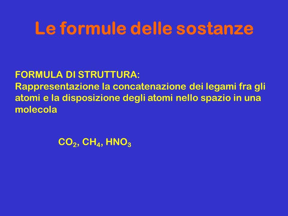 Le formule delle sostanze FORMULA DI STRUTTURA: Rappresentazione la concatenazione dei legami fra gli atomi e la disposizione degli atomi nello spazio