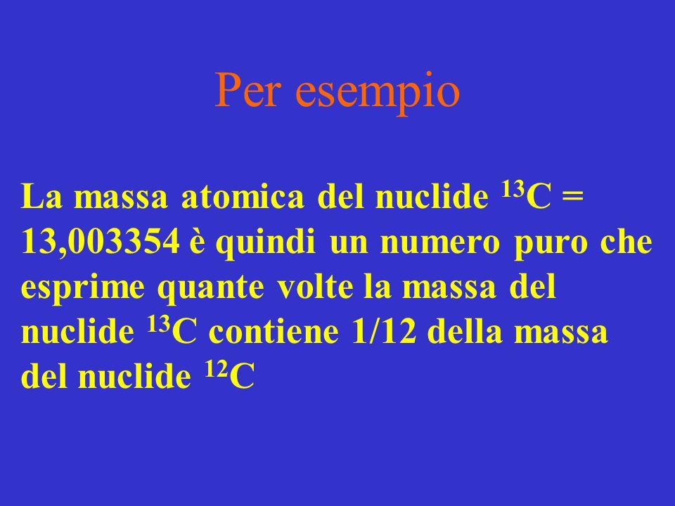 Per esempio La massa atomica del nuclide 13 C = 13,003354 è quindi un numero puro che esprime quante volte la massa del nuclide 13 C contiene 1/12 del