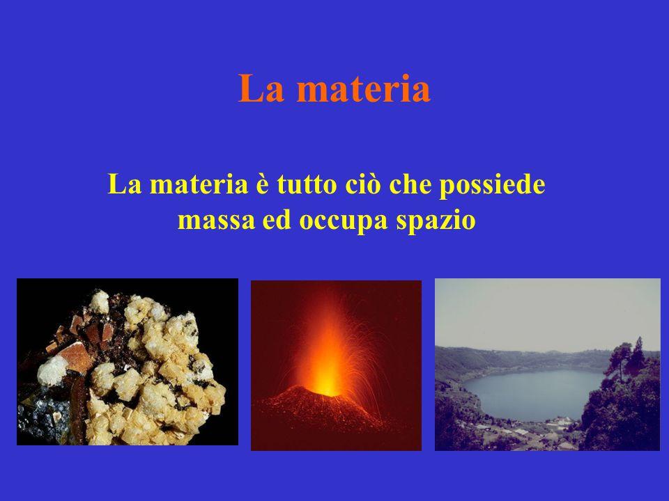 La materia La materia è tutto ciò che possiede massa ed occupa spazio