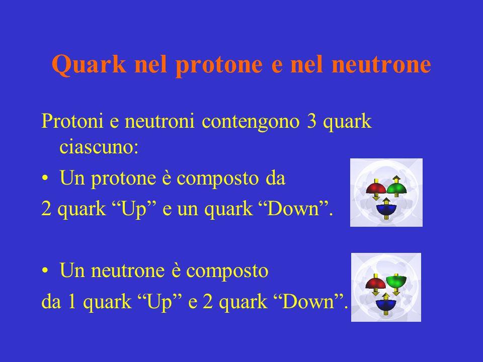 """Quark nel protone e nel neutrone Protoni e neutroni contengono 3 quark ciascuno: Un protone è composto da 2 quark """"Up"""" e un quark """"Down"""". Un neutrone"""