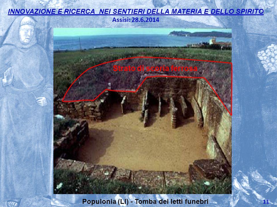 INNOVAZIONE E RICERCA NEI SENTIERI DELLA MATERIA E DELLO SPIRITO Assisi: 28.6.2014 11 Populonia (LI) - Tomba dei letti funebri Strato di scoria ferros