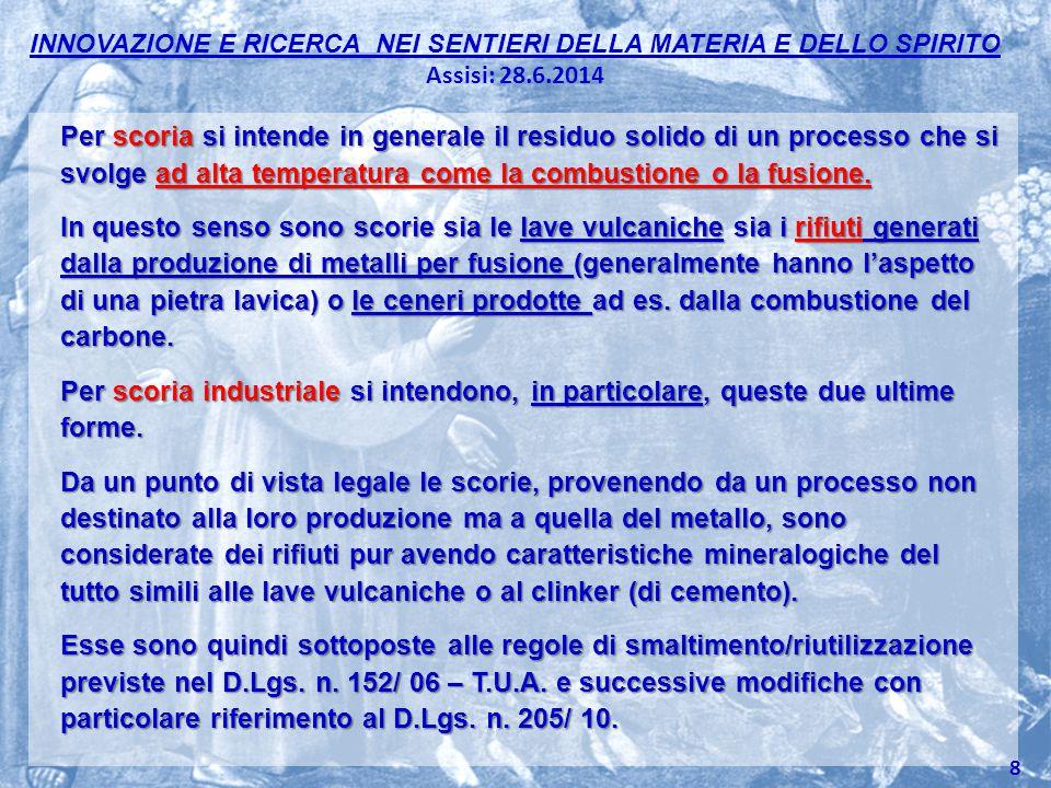 INNOVAZIONE E RICERCA NEI SENTIERI DELLA MATERIA E DELLO SPIRITO Assisi: 28.6.2014 Per scoria si intende in generale il residuo solido di un processo
