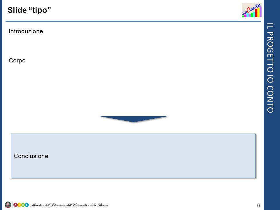 """IL PROGETTO IO CONTO Slide """"tipo"""" Introduzione 6 Corpo Conclusione"""