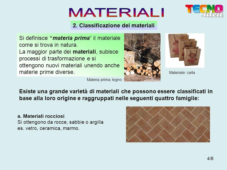 4/6 2. Classificazione dei materiali Esiste una grande varietà di materiali che possono essere classificati in base alla loro origine e raggruppati ne