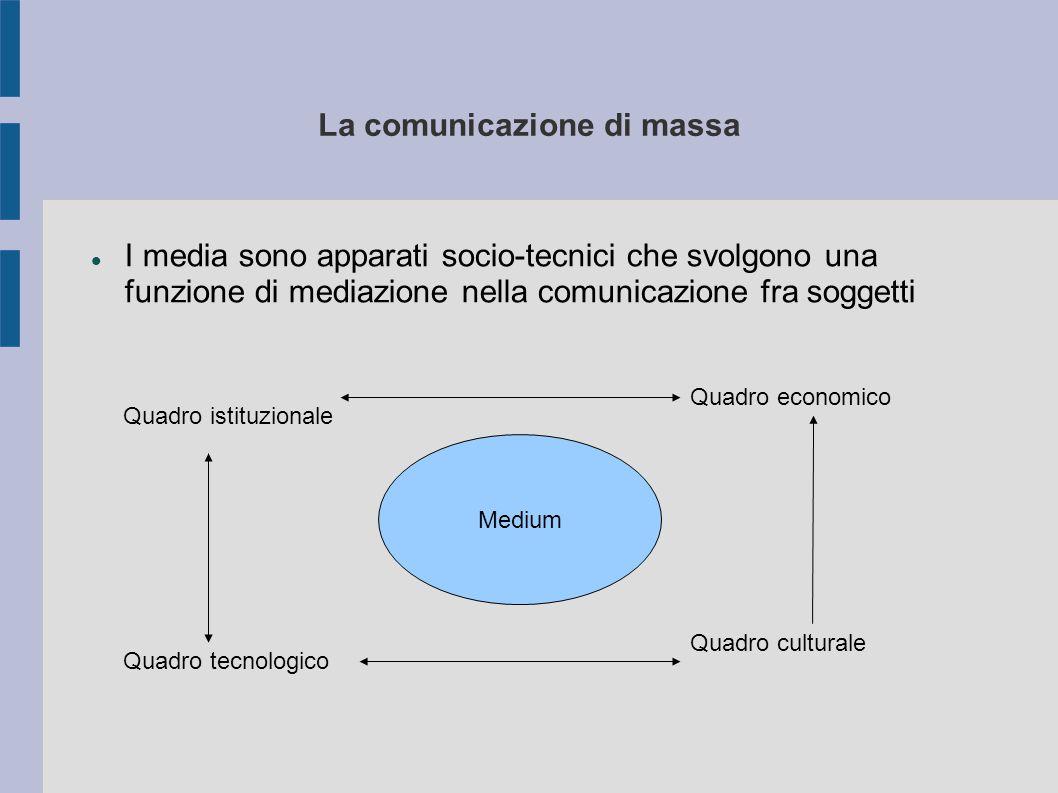 La comunicazione di massa I media sono apparati socio-tecnici che svolgono una funzione di mediazione nella comunicazione fra soggetti Medium Quadro i