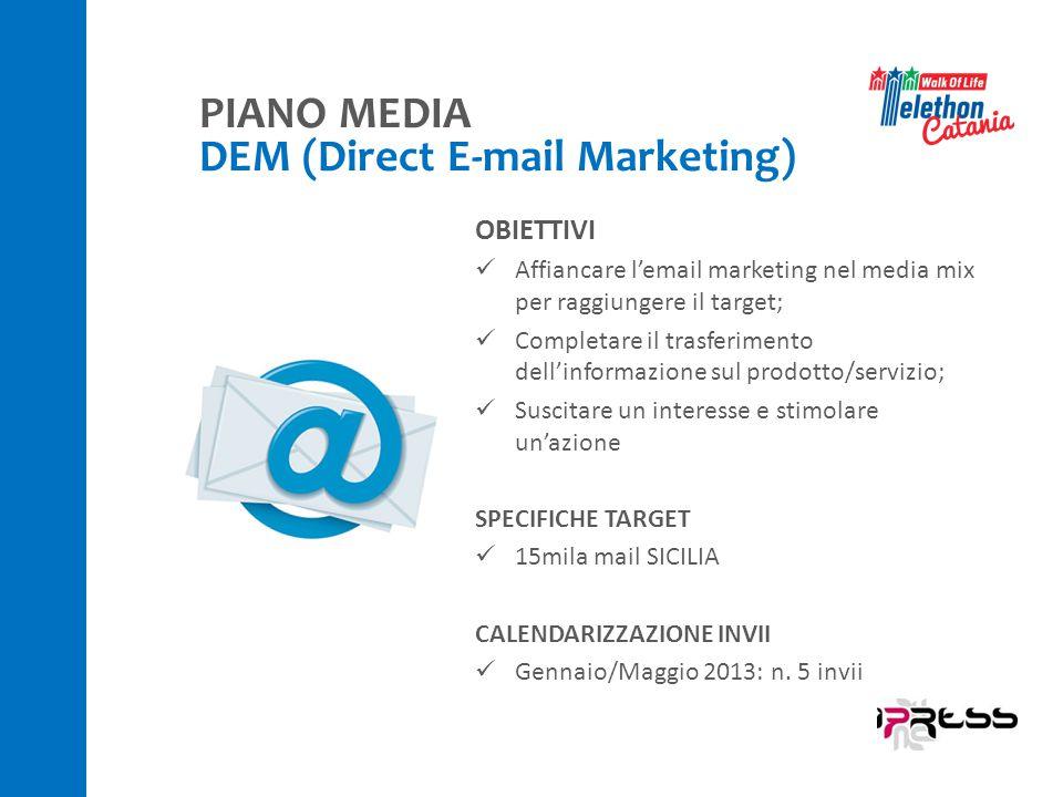 OBIETTIVI Affiancare l'email marketing nel media mix per raggiungere il target; Completare il trasferimento dell'informazione sul prodotto/servizio; Suscitare un interesse e stimolare un'azione SPECIFICHE TARGET 15mila mail SICILIA CALENDARIZZAZIONE INVII Gennaio/Maggio 2013: n.