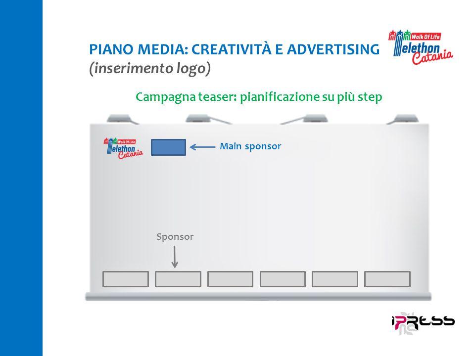 Campagna teaser: pianificazione su più step Main sponsor Sponsor PIANO MEDIA: CREATIVITÀ E ADVERTISING (inserimento logo)
