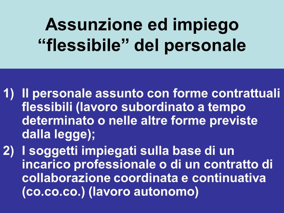 """Assunzione ed impiego """"flessibile"""" del personale 1)Il personale assunto con forme contrattuali flessibili (lavoro subordinato a tempo determinato o ne"""