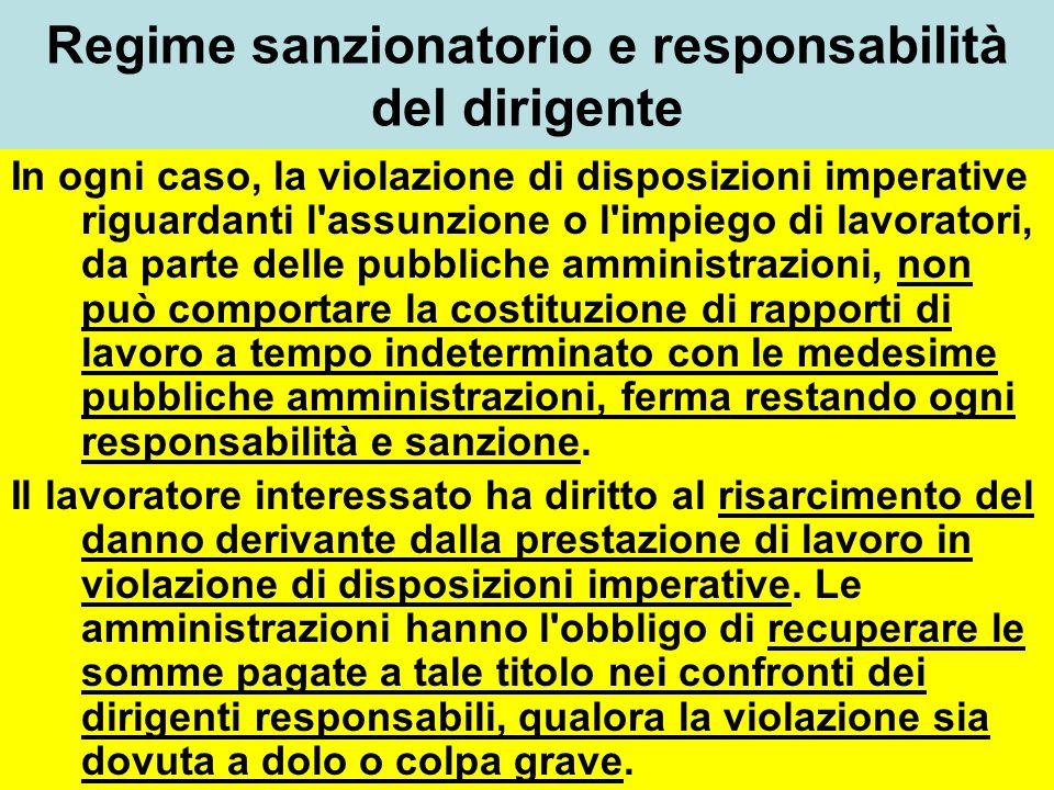Regime sanzionatorio e responsabilità del dirigente In ogni caso, la violazione di disposizioni imperative riguardanti l'assunzione o l'impiego di lav