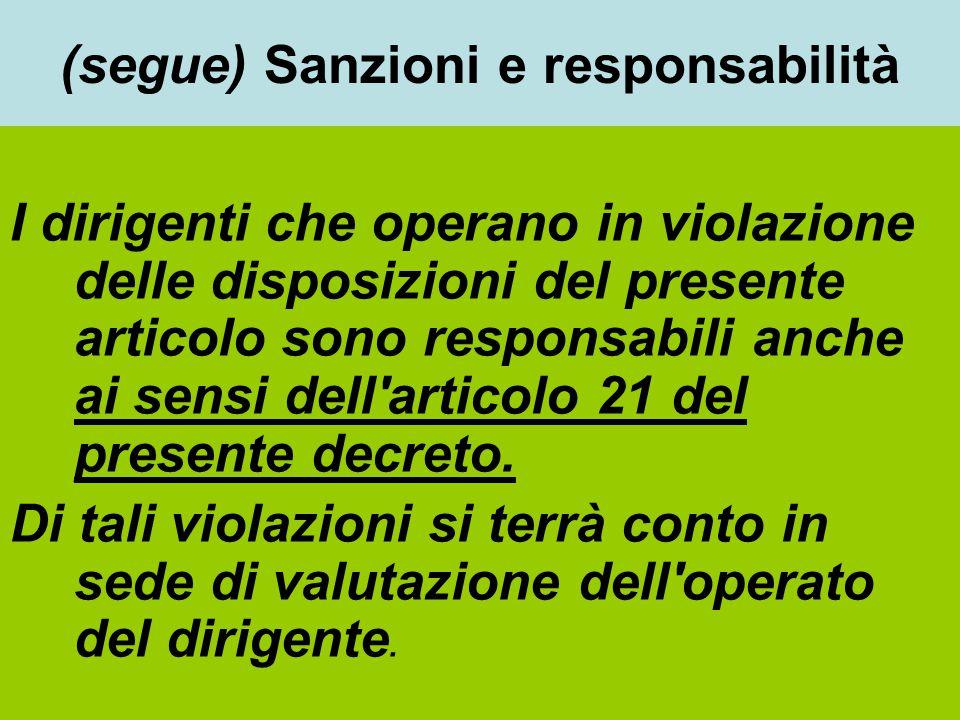 (segue) Sanzioni e responsabilità I dirigenti che operano in violazione delle disposizioni del presente articolo sono responsabili anche ai sensi dell