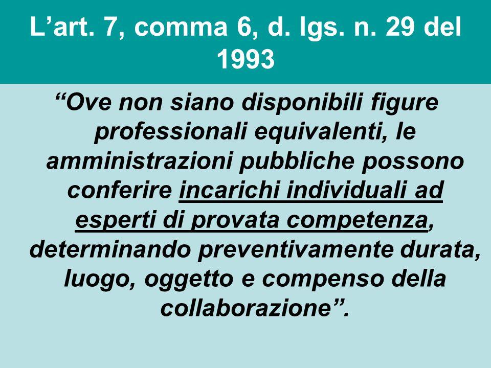 """L'art. 7, comma 6, d. lgs. n. 29 del 1993 """"Ove non siano disponibili figure professionali equivalenti, le amministrazioni pubbliche possono conferire"""