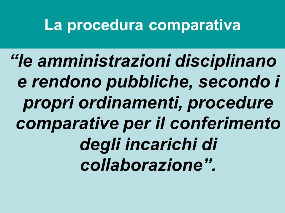 """La procedura comparativa """"le amministrazioni disciplinano e rendono pubbliche, secondo i propri ordinamenti, procedure comparative per il conferimento"""