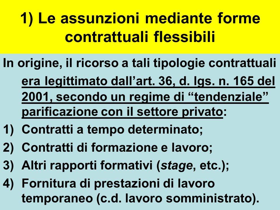 1) Le assunzioni mediante forme contrattuali flessibili In origine, il ricorso a tali tipologie contrattuali era legittimato dall'art. 36, d. lgs. n.