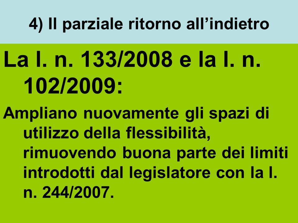 4) Il parziale ritorno all'indietro La l. n. 133/2008 e la l. n. 102/2009: Ampliano nuovamente gli spazi di utilizzo della flessibilità, rimuovendo bu
