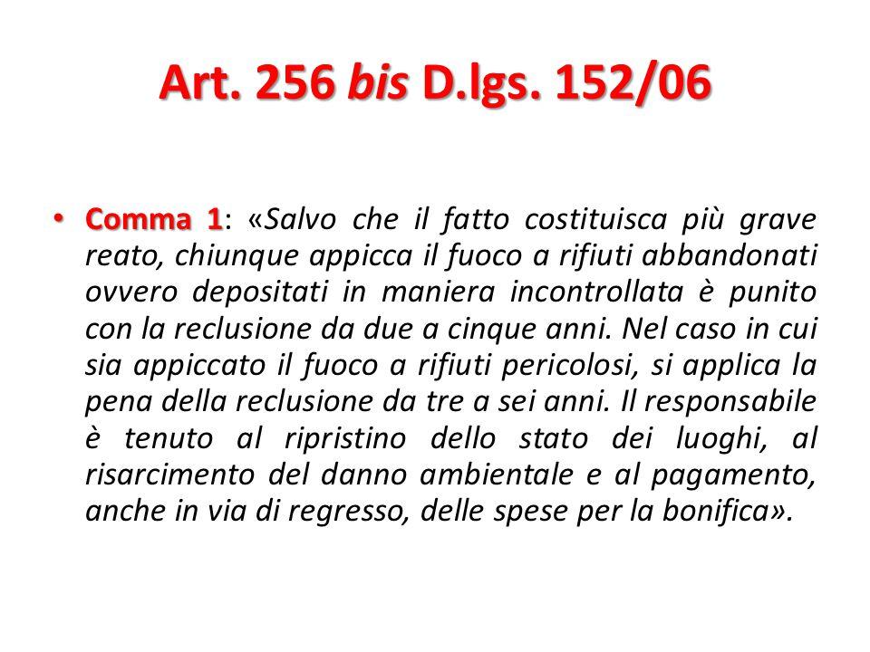 Art.256 bis D.lgs. 152/06  Reato di pericolo presunto  La collocazione nel T.U.A.
