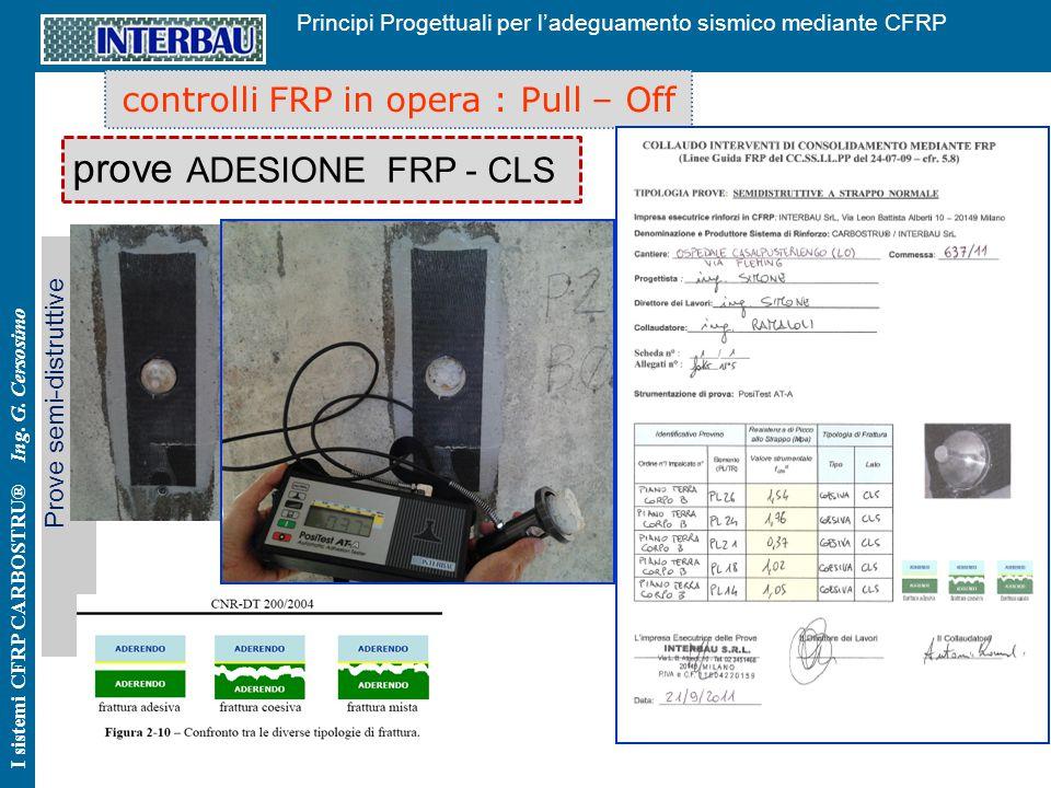 44 Principi Progettuali per l'adeguamento sismico mediante CFRP I sistemi CFRP CARBOSTRU® Ing. G. Cersosimo controlli FRP in opera : Pull – Off prove