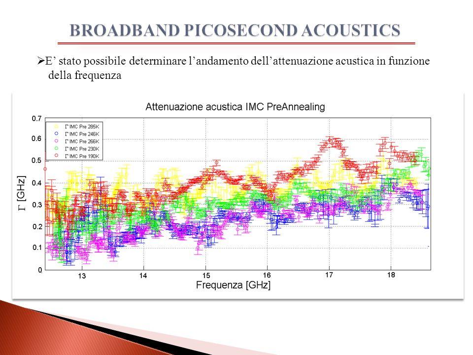  E' stato possibile determinare l'andamento dell'attenuazione acustica in funzione della frequenza