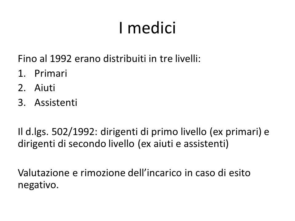 I medici Fino al 1992 erano distribuiti in tre livelli: 1.Primari 2.Aiuti 3.Assistenti Il d.lgs. 502/1992: dirigenti di primo livello (ex primari) e d