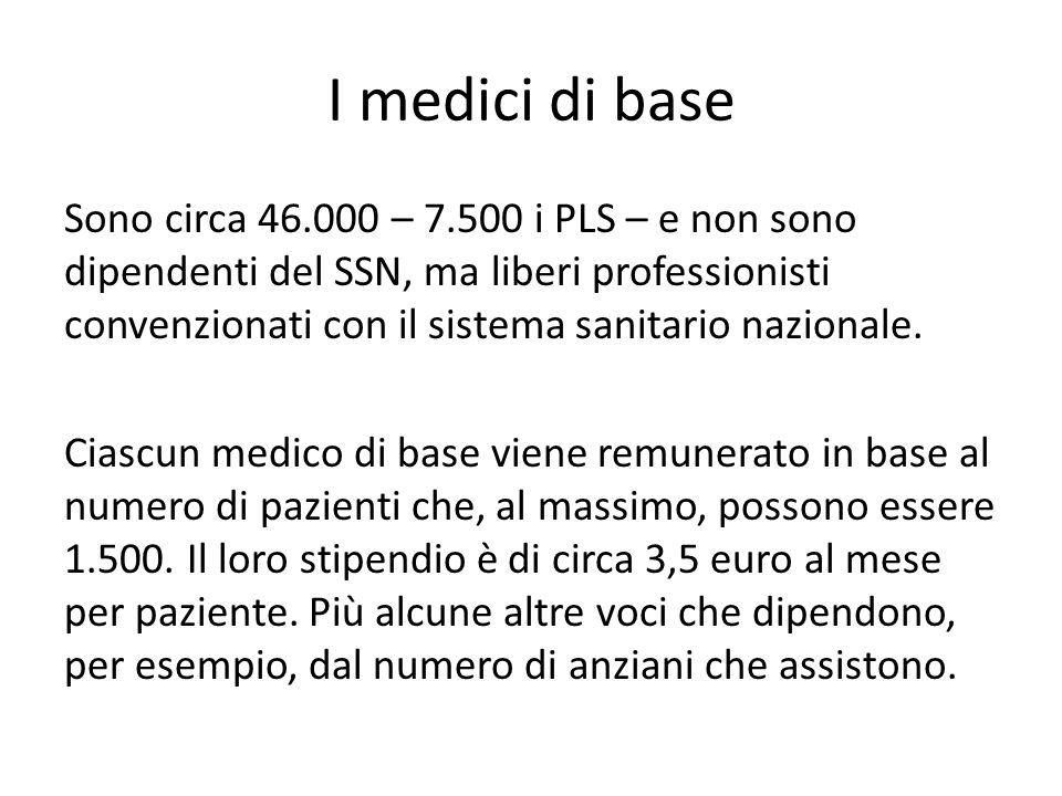 I medici di base Sono circa 46.000 – 7.500 i PLS – e non sono dipendenti del SSN, ma liberi professionisti convenzionati con il sistema sanitario nazi