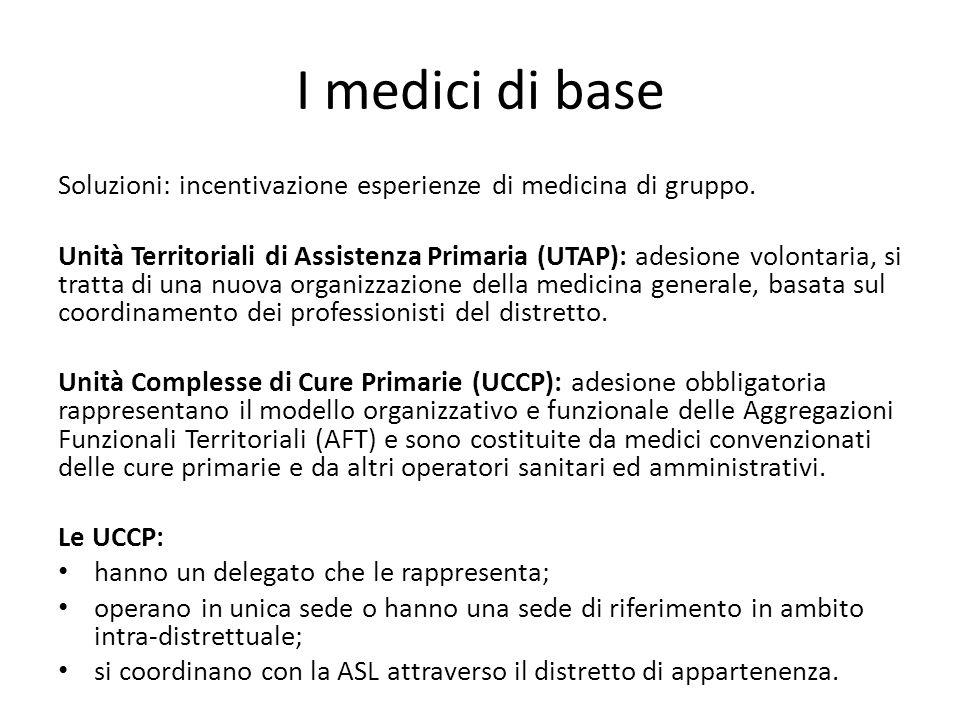 I medici di base Soluzioni: incentivazione esperienze di medicina di gruppo. Unità Territoriali di Assistenza Primaria (UTAP): adesione volontaria, si