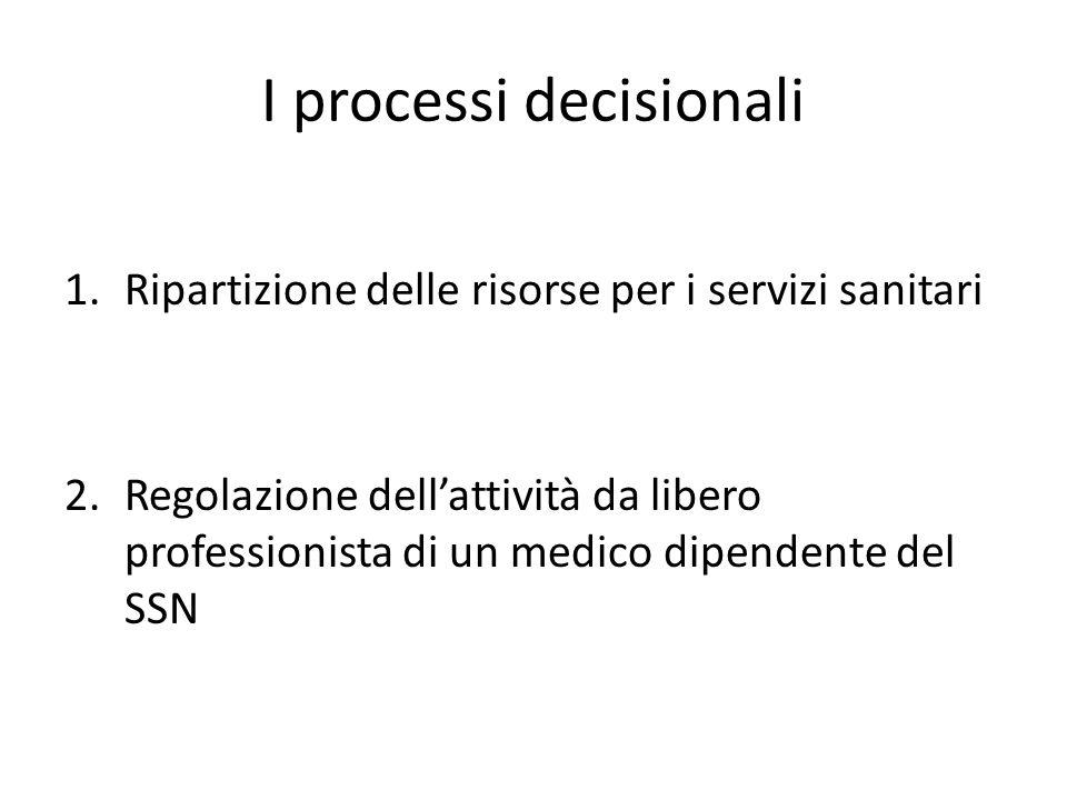 I processi decisionali 1.Ripartizione delle risorse per i servizi sanitari 2.Regolazione dell'attività da libero professionista di un medico dipendent