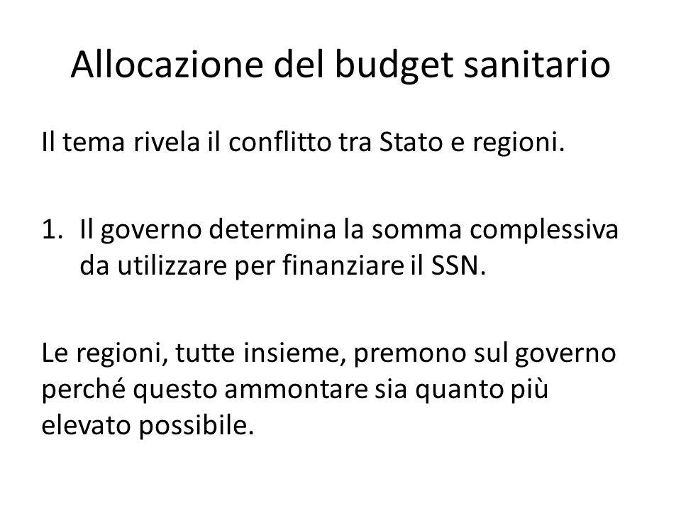 Allocazione del budget sanitario Il tema rivela il conflitto tra Stato e regioni. 1.Il governo determina la somma complessiva da utilizzare per finanz