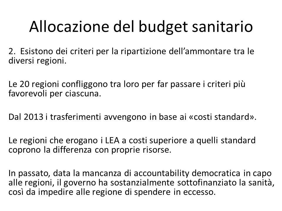 Allocazione del budget sanitario 2. Esistono dei criteri per la ripartizione dell'ammontare tra le diversi regioni. Le 20 regioni confliggono tra loro