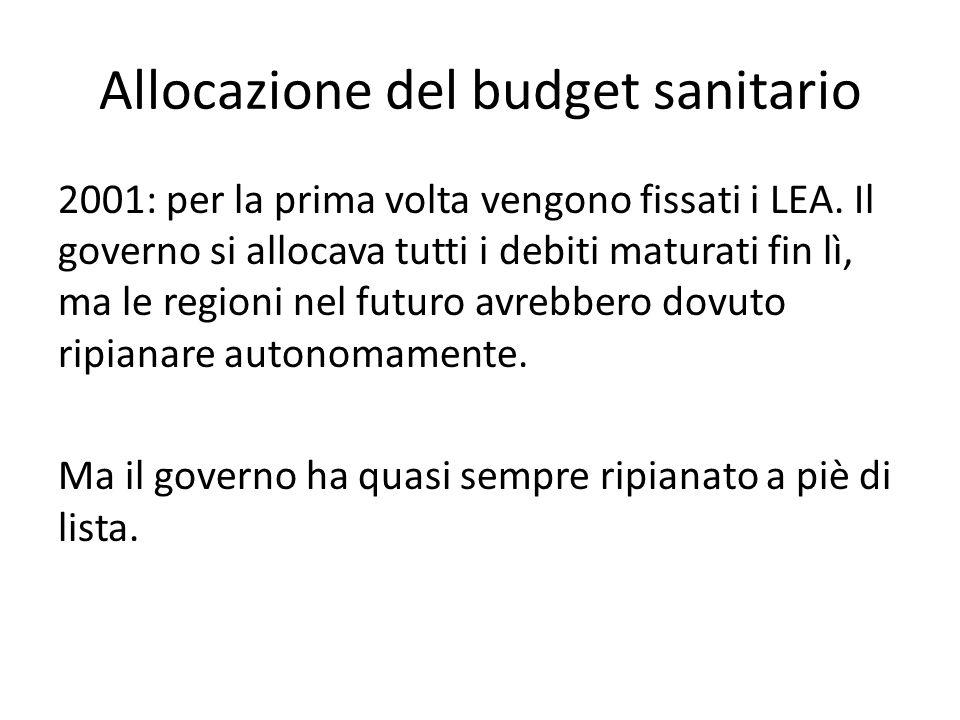 Allocazione del budget sanitario 2001: per la prima volta vengono fissati i LEA. Il governo si allocava tutti i debiti maturati fin lì, ma le regioni