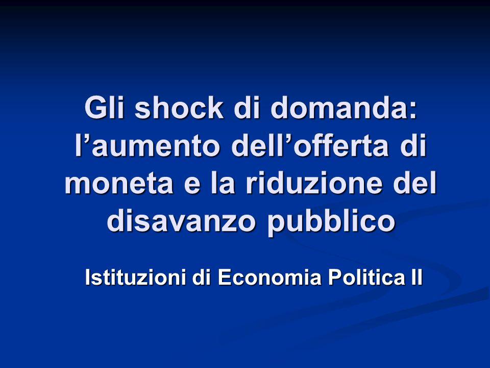Gli shock di domanda: l'aumento dell'offerta di moneta e la riduzione del disavanzo pubblico Istituzioni di Economia Politica II