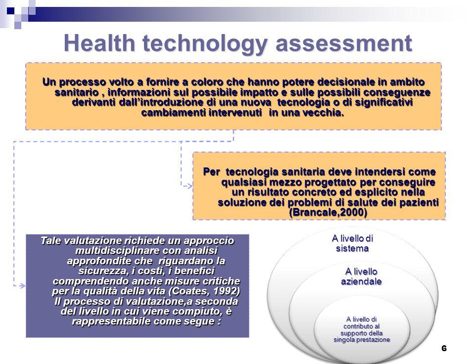 Health technology assessment Un processo volto a fornire a coloro che hanno potere decisionale in ambito sanitario, informazioni sul possibile impatto e sulle possibili conseguenze derivanti dall'introduzione di una nuova tecnologia o di significativi cambiamenti intervenuti in una vecchia.