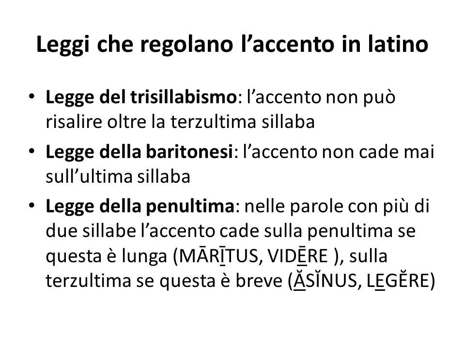 Leggi che regolano l'accento in latino Legge del trisillabismo: l'accento non può risalire oltre la terzultima sillaba Legge della baritonesi: l'accen