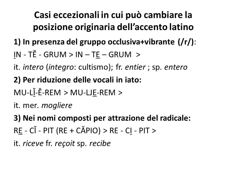Casi eccezionali in cui può cambiare la posizione originaria dell'accento latino 1) In presenza del gruppo occlusiva+vibrante (/r/): IN - TĔ - GRUM >