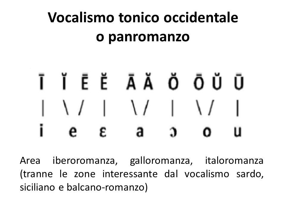 Vocalismo tonico occidentale o panromanzo Area iberoromanza, galloromanza, italoromanza (tranne le zone interessante dal vocalismo sardo, siciliano e