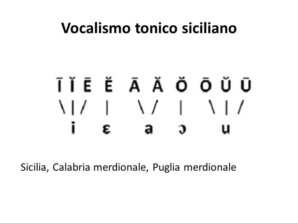 Vocalismo tonico siciliano Sicilia, Calabria merdionale, Puglia merdionale