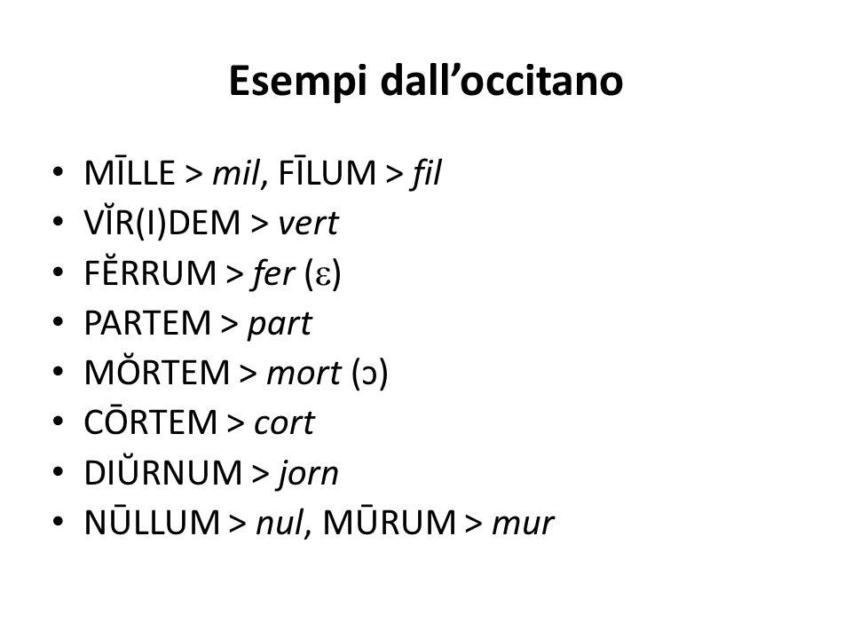 Esempi dall'occitano MĪLLE > mil, FĪLUM > fil VĬR(I)DEM > vert FĔRRUM > fer (  ) PARTEM > part MŎRTEM > mort (ɔ) CŌRTEM > cort DIŬRNUM > jorn NŪLLUM