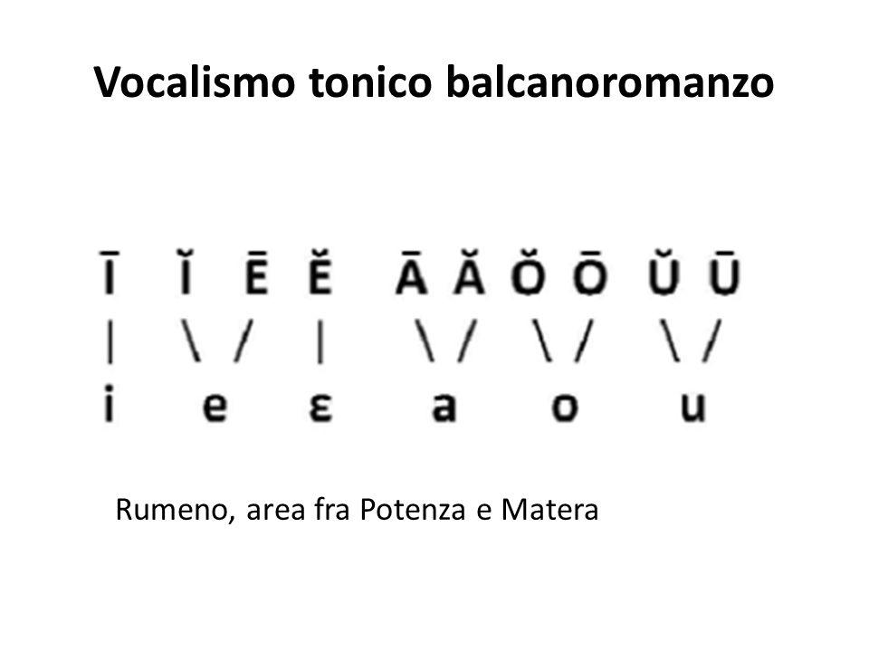 Vocalismo tonico balcanoromanzo Rumeno, area fra Potenza e Matera
