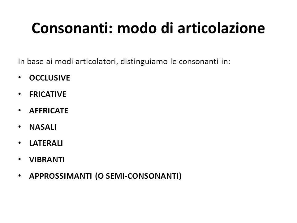 Consonanti: modo di articolazione In base ai modi articolatori, distinguiamo le consonanti in: OCCLUSIVE FRICATIVE AFFRICATE NASALI LATERALI VIBRANTI