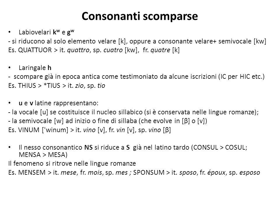 Consonanti scomparse Labiovelari k w e g w - si riducono al solo elemento velare [k], oppure a consonante velare+ semivocale [kw] Es. QUATTUOR > it. q
