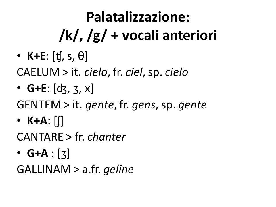 Palatalizzazione: /k/, /g/ + vocali anteriori K+E: [ʧ, s, θ] CAELUM > it. cielo, fr. ciel, sp. cielo G+E: [ʤ, ʒ, x] GENTEM > it. gente, fr. gens, sp.