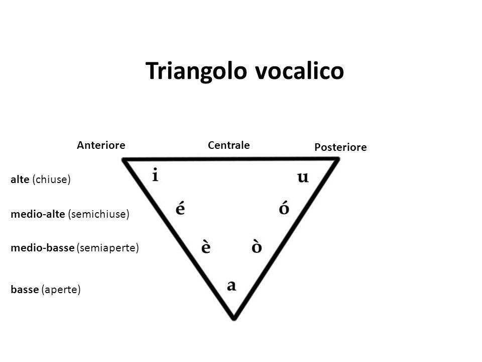 Triangolo vocalico alte (chiuse) medio-alte (semichiuse) medio-basse (semiaperte) basse (aperte) AnterioreCentrale Posteriore