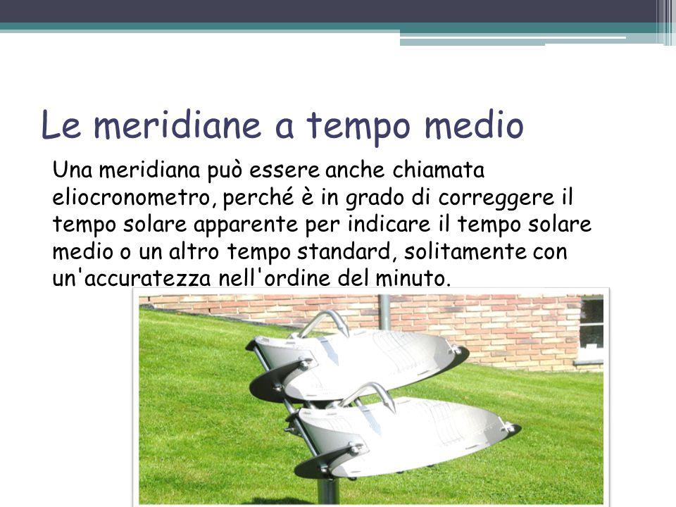 Esistono vari tipi di meridiane!!! Le meridiane a tempo medio Le meridiane portatili Le meridiane fisse Le meridiane naturali Le meridiane digitali Le