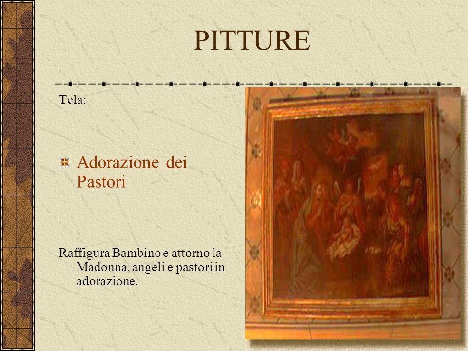 PITTURE Tela: Adorazione dei Pastori Raffigura Bambino e attorno la Madonna, angeli e pastori in adorazione.