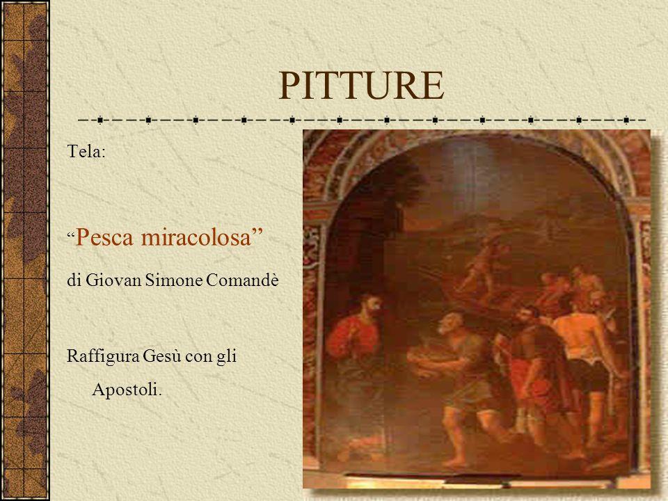 """PITTURE Tela: """" Pesca miracolosa"""" di Giovan Simone Comandè Raffigura Gesù con gli Apostoli."""