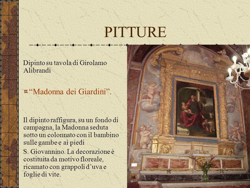 """PITTURE Dipinto su tavola di Girolamo Alibrandi """"Madonna dei Giardini"""". Il dipinto raffigura, su un fondo di campagna, la Madonna seduta sotto un colo"""